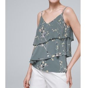 WHBM Chiffon Detail Tiered Floral Camisole, Medium